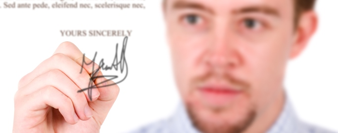 Business man letter signature